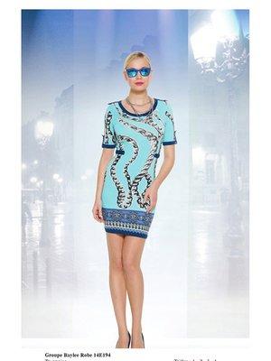 Сукня блакитна у принт | 2464465