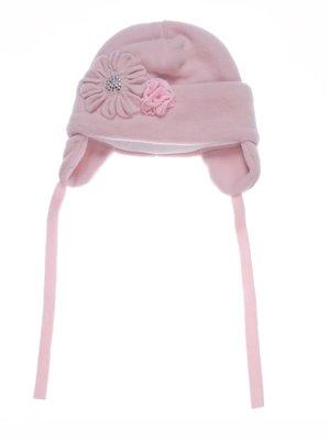 Шапка розовая с декором флисовая | 2585701