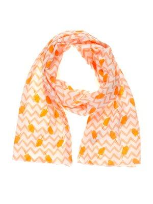 Шарф бело-оранжевый в принт | 2450340