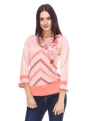 Пуловер персиковый в полоску с декором | 2316637