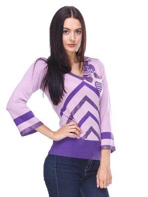 Пуловер фіолетовий в смужку з декором | 2316639