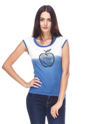 Футболка синя з декором | 2316665