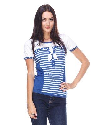 Футболка біло-синя в смужку | 2619340