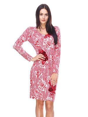 Сукня червона у квітковий принт | 2434166