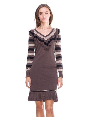 Платье коричневое в полоску   2619402