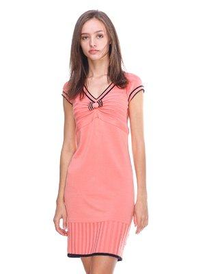 Платье розовое с контрастной отделкой | 2619331