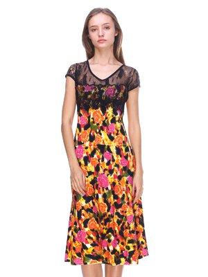 Платье черно-оранжевое в цветочный принт   2302448