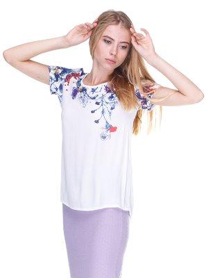 Блуза белая с принтом | 2302532