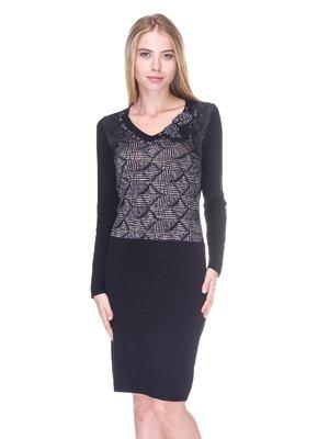 Сукня чорна в принт | 2619137