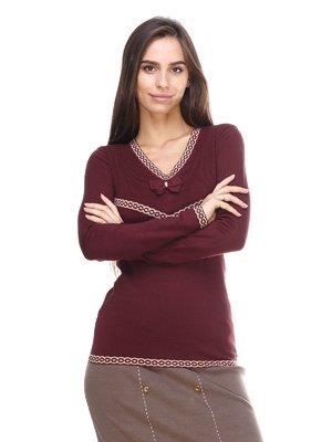 Пуловер бордовый с узором | 2635319