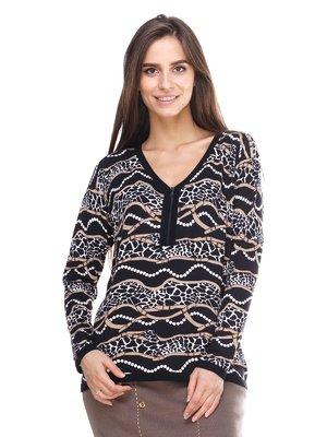 Пуловер черный с принтом | 2635328