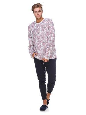 Джемпер белый с принтом пижамный | 2627448