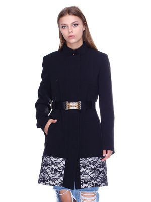 Пальто черное с принтом | 2638707