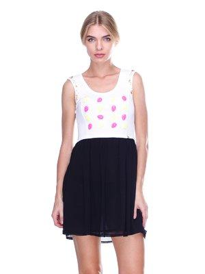 Платье двухцветное с декором | 2638514