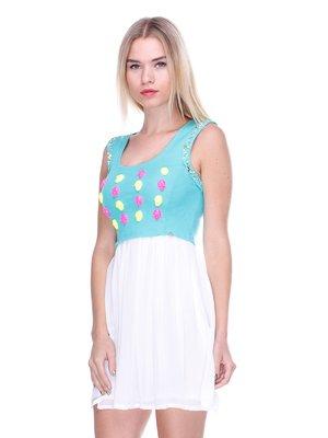 Платье двухцветное с декором | 2638515