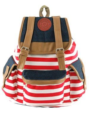 Рюкзак красно-белый в полоску | 2660270