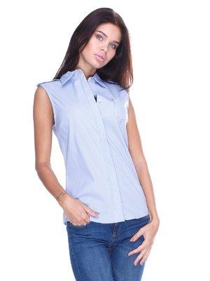 Блуза блакитна з написом | 2644995