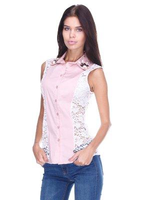 Блуза рожево-біла | 2644993