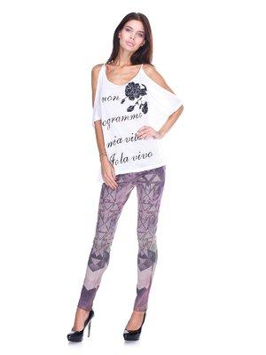 Штани фіолетові з принтом | 2638960