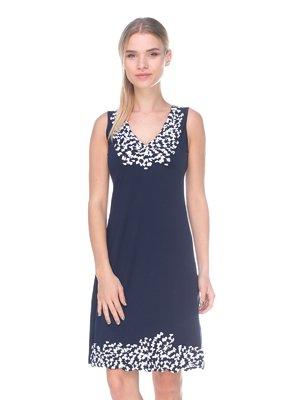 Платье темно-синее в принт | 2434183