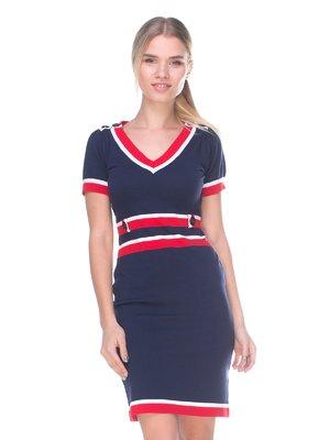 Платье темно-синее с полосками | 2627950