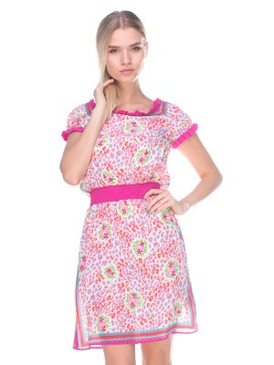 Сукня біло-рожева у принт | 2590946