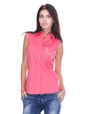 Блуза коралловая с надписью | 2644997