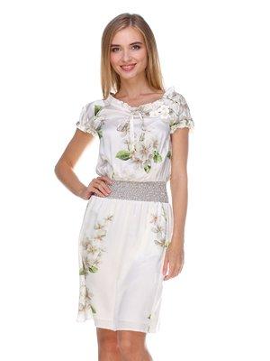 Сукня біла в принт | 2590943