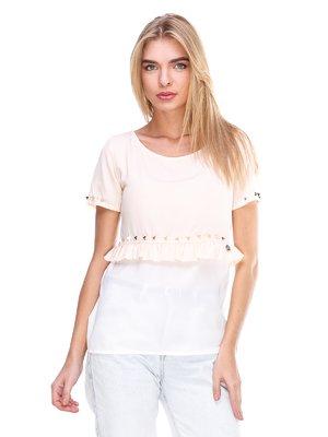 Блуза бело-персикового цвета   2645150