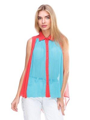 Блуза кораллово-голубая | 2645167