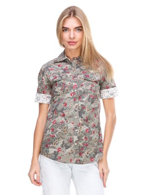 Блуза кольору хакі в принт | 2644998
