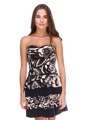 Платье-бюстье черно-бежевое | 2660234