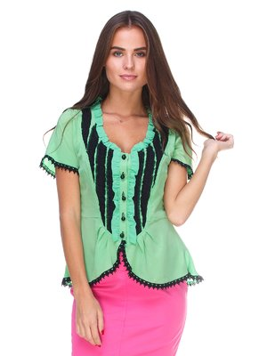 Блуза зелено-чорна | 2590920