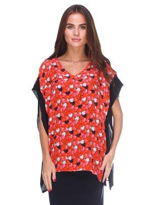 Блуза червона в принт | 2590927