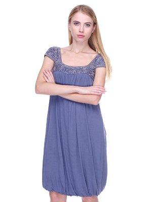Сукня синя з декором | 2660041