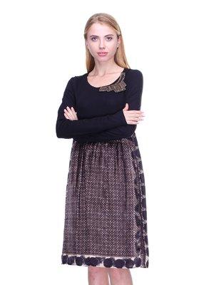 Платье черное в принт | 2660035
