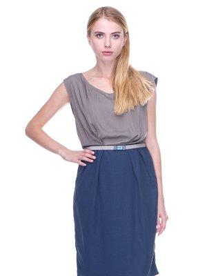 Платье сине-бежевое | 2659984