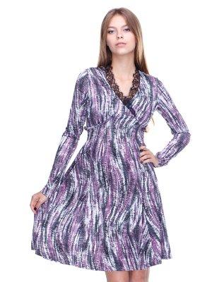 Сукня біло-фіолетова в принт | 2660046