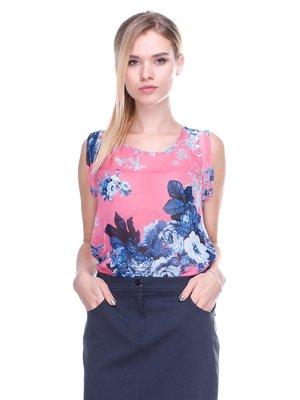 Блуза рожева в принт | 2590962