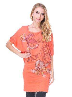 Туніка персикового кольору з принтом | 2590922
