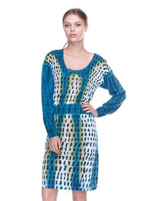 Платье голубое в принт | 2316566