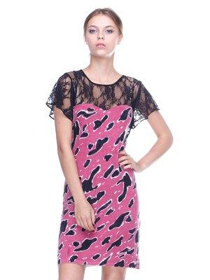 Сукня чорно-рожева у принт | 2316569