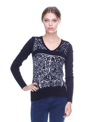 Пуловер чорний з принтом | 2316551