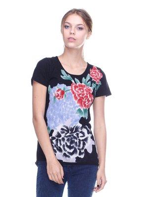 Блуза чорна з квітковим принтом | 2316550