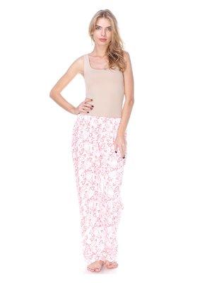 Штаны белые в принт пижамные с начесом | 2681112