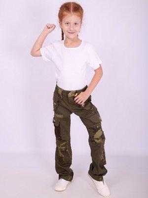 Штани кольору хакі з камуфляжним принтом | 2655622