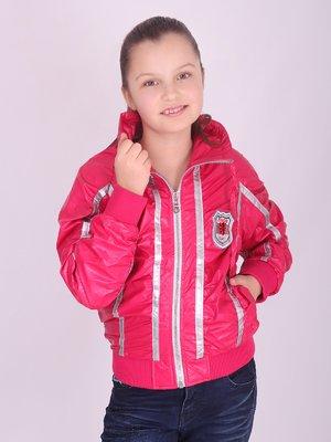 Куртка малинова з контрастним оздобленням   2027149