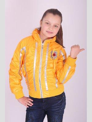 Куртка жовта з контрастним оздобленням   2027150