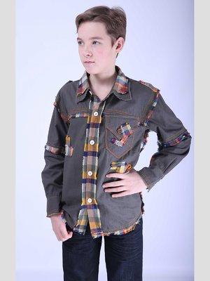 Рубашка цвета хаки с отделкой | 2180615