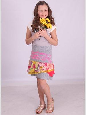 Юбка серая с цветочным принтом | 2399729